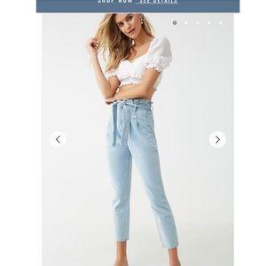 Paper bag waist ankle jeans